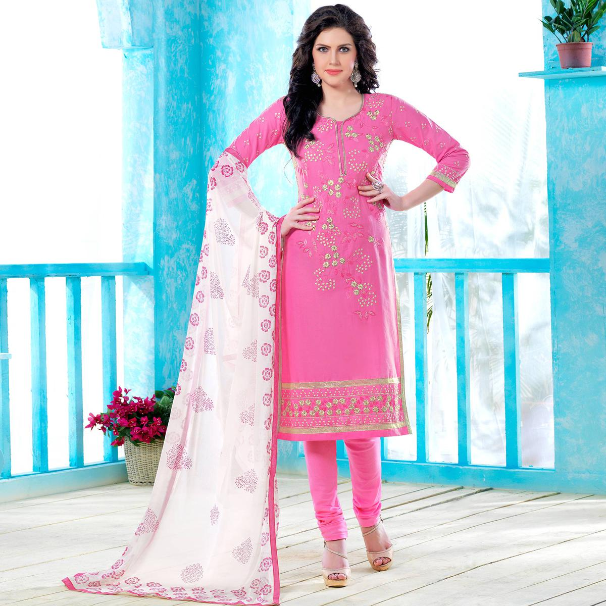 Surpassing Pink Colored Party Wear Embroidered Cotton Dress Material
