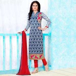 Entrancing Navy Blue Colored Party Wear Embroidered Cotton Dress Material