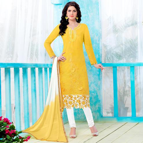 Imposing Yellow Colored Party Wear Embroidered Cotton Dress Material