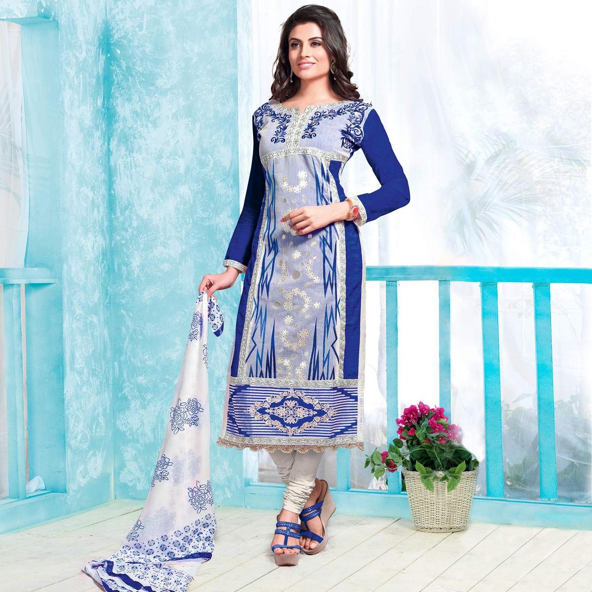 Blissful Blue Colored Party Wear Embroidered Cotton Dress Material