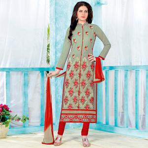 Ideal Light Fern Green Colored Party Wear Embroidered Cotton Dress Material