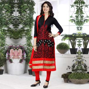 Intricate Black - Red Colored Party Wear Embroidered Cotton Dress Material