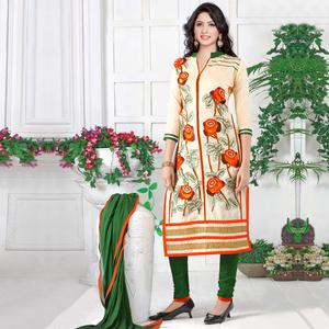 Sophisticated Cream Colored Party Wear Embroidered Cotton Dress Material