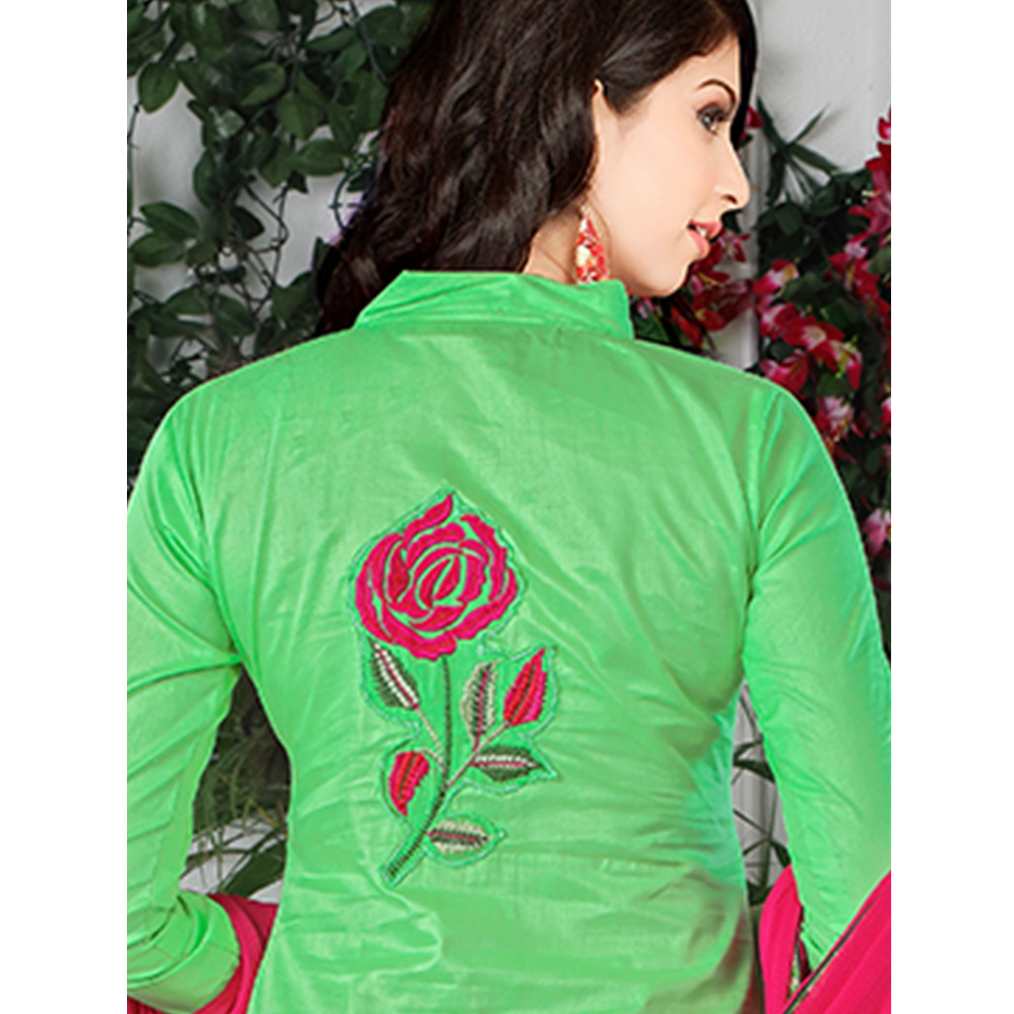 Demanding Bright Green Colored Party Wear Embroidered Cotton Dress Material