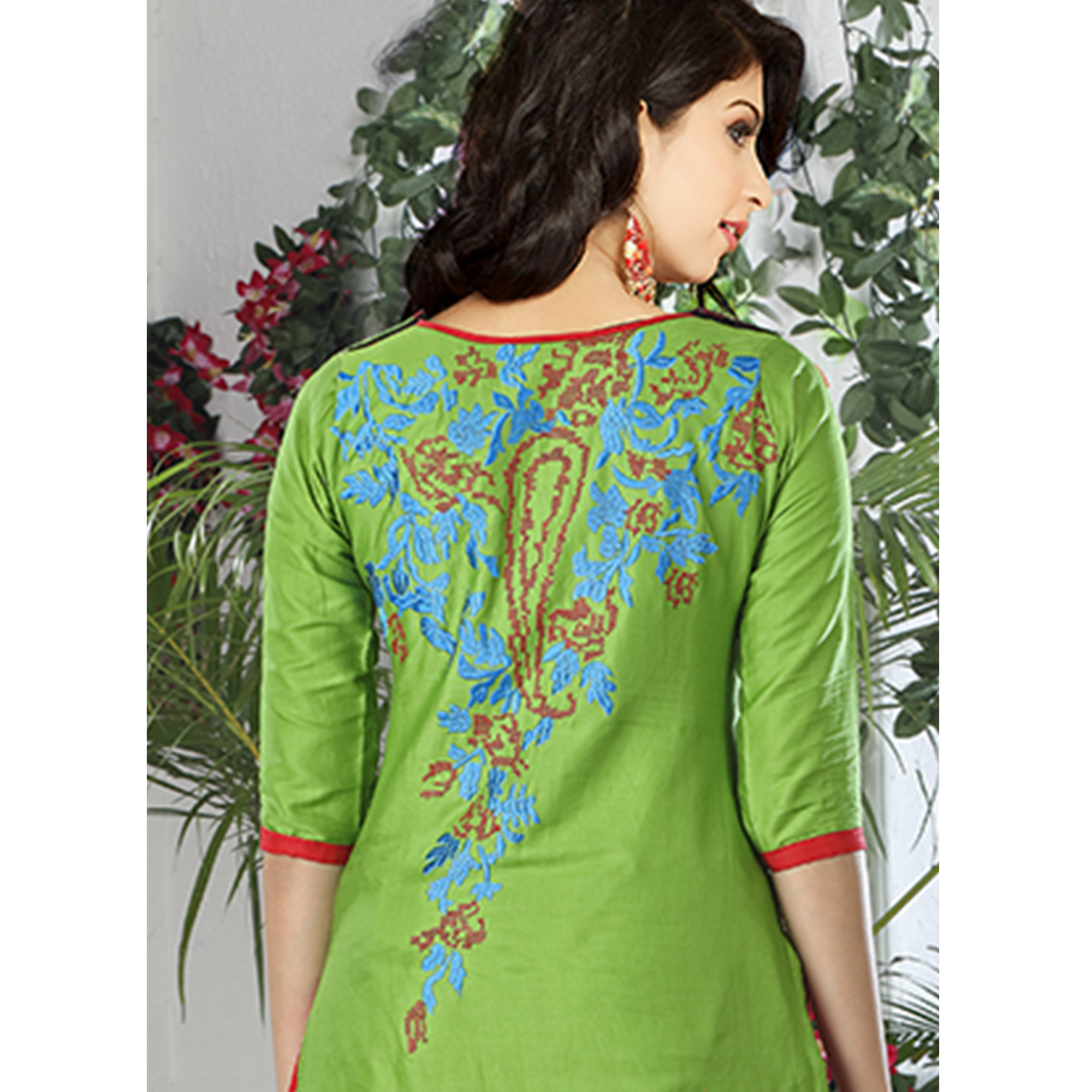 Pleasant Green Colored Party Wear Embroidered Cotton Dress Material