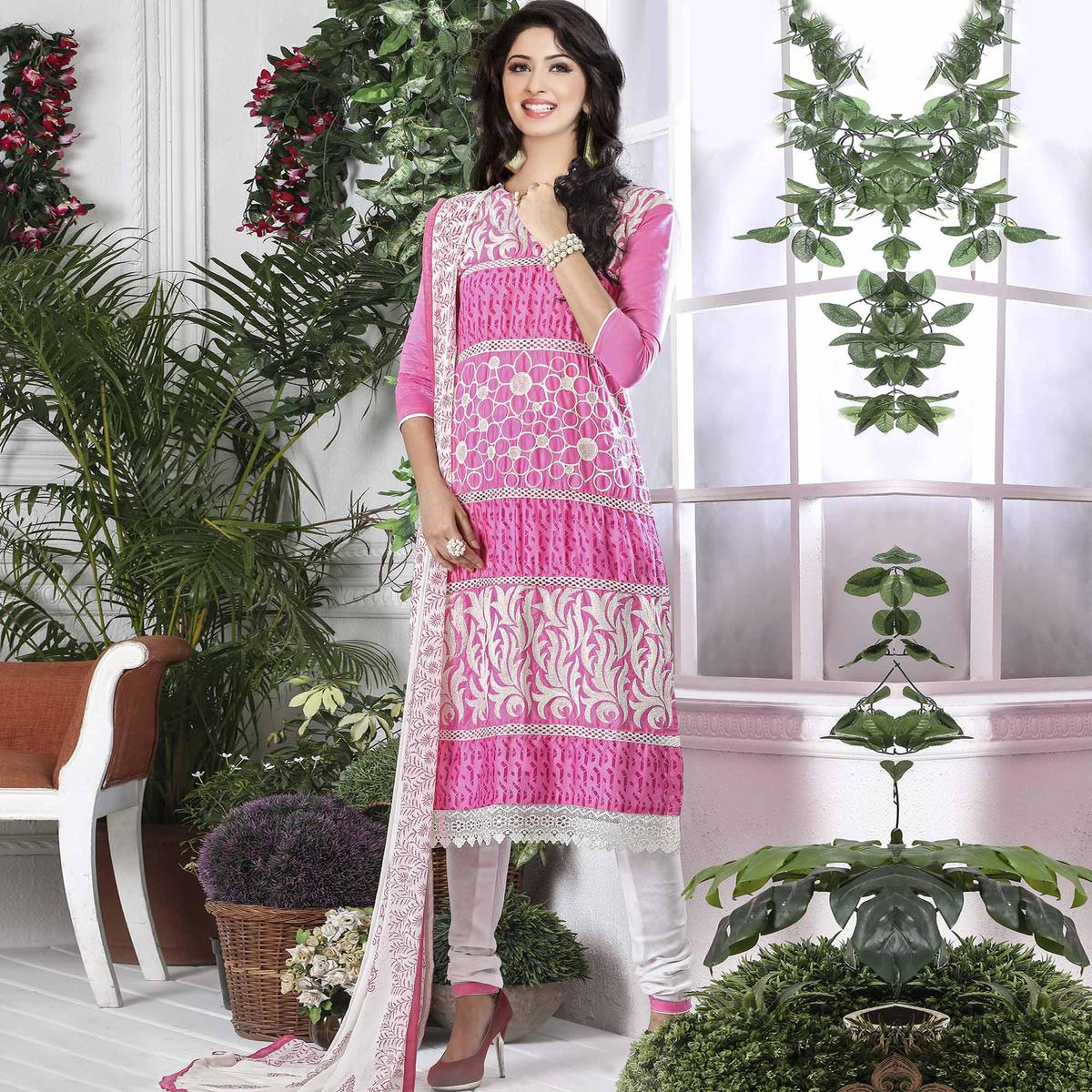 Refreshing Pink Colored Party Wear Embroidered Cotton Dress Material
