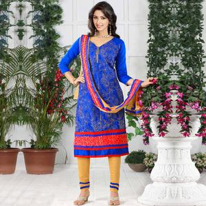 Radiant Royal Blue Colored Party Wear Embroidered Cotton Dress Material