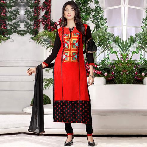 Sensational Red - Black Colored Party Wear Embroidered Cotton Dress Material