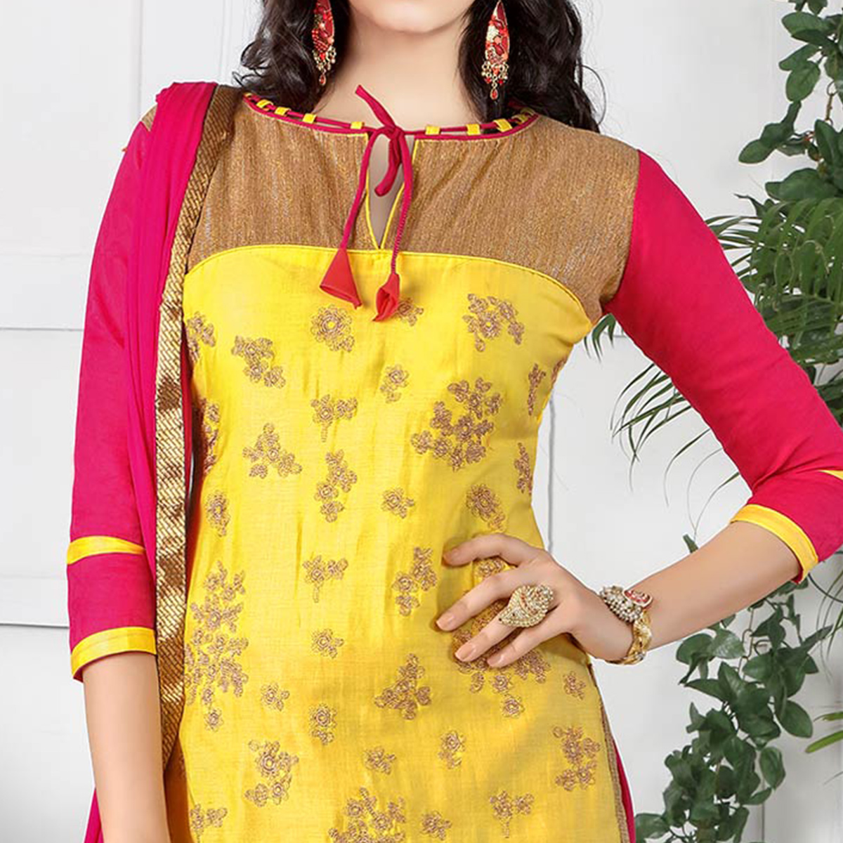 Opulent Yellow Colored Party Wear Embroidered Cotton Dress Material