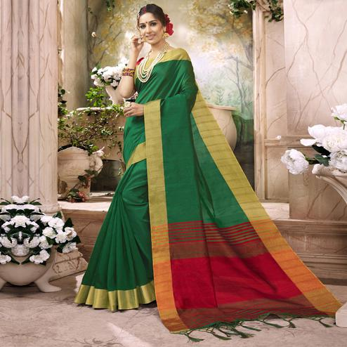Adorable Green Colored Festive Wear Art Silk Saree