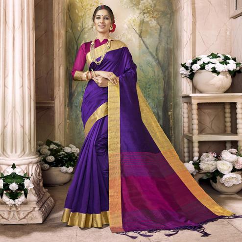 Attractive Purple Colored Festive Wear Art Silk Saree