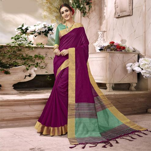 Beautiful Violet Colored Festive Wear Art Silk Saree