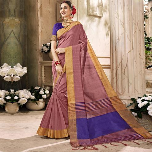 Gorgeous Mauve Colored Festive Wear Art Silk Saree