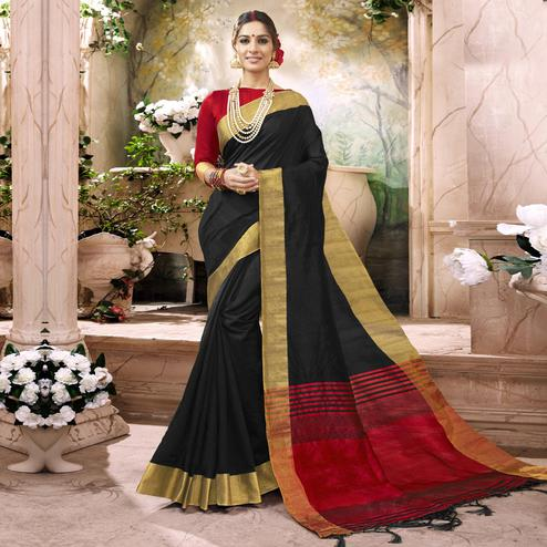 Classy Black Colored Festive Wear Art Silk Saree