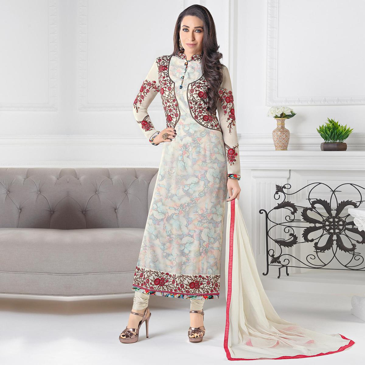f7054f6e1fa621 Buy Stylish Off-White Designer Embroidered Faux Georgette Salwar Suit for  womens online India, Best Prices, Reviews - Peachmode