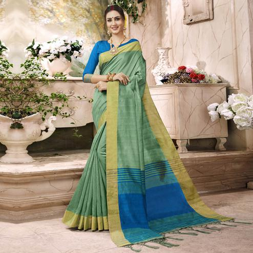 Glorious Light Green Colored Festive Wear Art Silk Saree