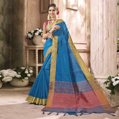 Graceful Blue Colored Festive Wear Art Silk Saree