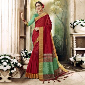 Lovely Red Colored Festive Wear Art Silk Saree