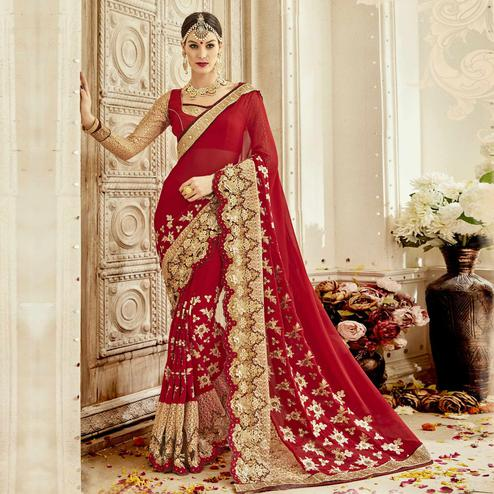 Pretty Red Colored Partywear Embroidered Art Silk Saree