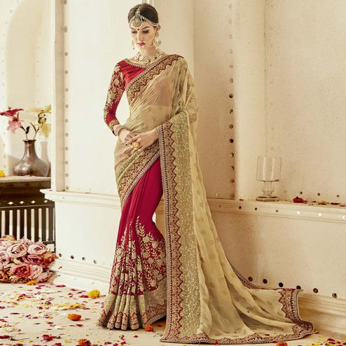 Ravishing Red-Beige Colored Partywear Embroidered Faux Georgette Half-Half Saree