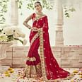 Delightful Red Colored Partywear Embroidered Georgette Saree