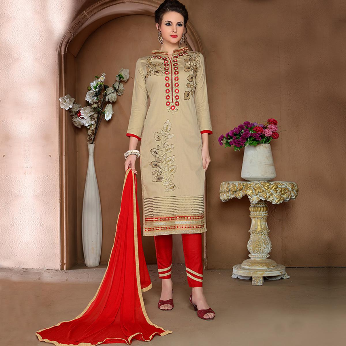 Charming Beige Colored Party Wear Embroidered Cotton Dress Material