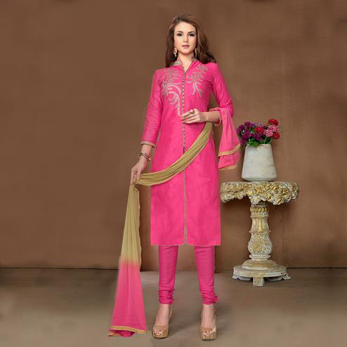 Ravishing Pink Colored Party Wear Embroidered Cotton Dress Material
