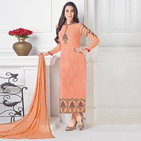 Adorable Peach Designer Embroidered Faux Georgette Salwar Suit