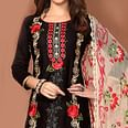 Stunning Black Colored Party Wear Embroidered Cotton Dress Material