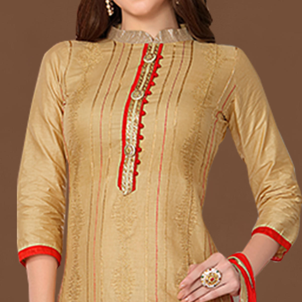 Blooming Beige Colored Party Wear Embroidered Cotton Dress Material
