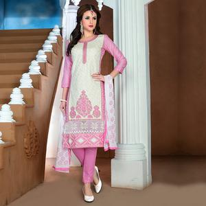 Mesmerising Off White Colored Party Wear Embroidered Cotton Dress Material