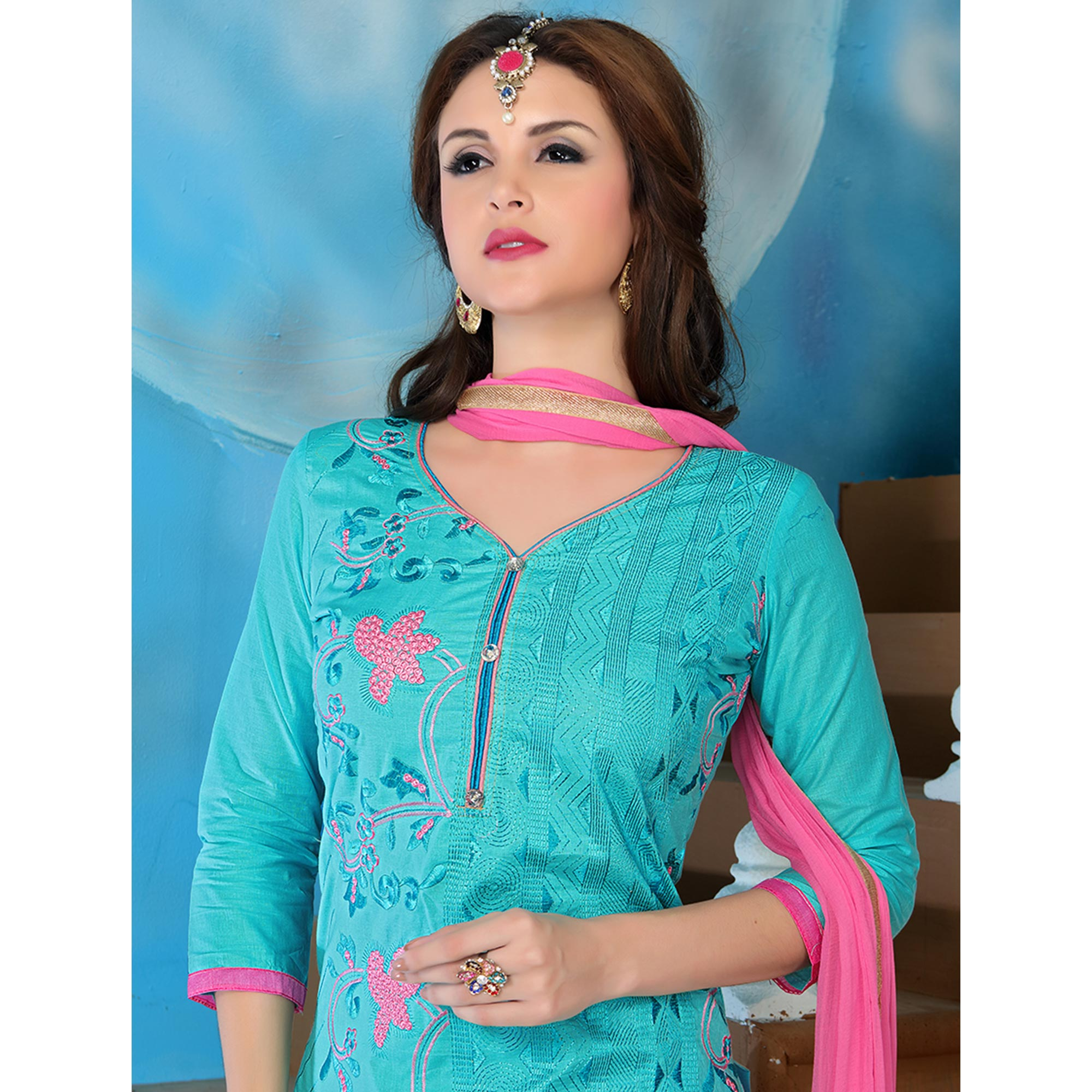 Ravishing Sky Blue Colored Party Wear Embroidered Cotton Dress Material