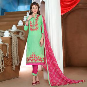 Eye-catching Green Colored Party Wear Embroidered Cotton Dress Material
