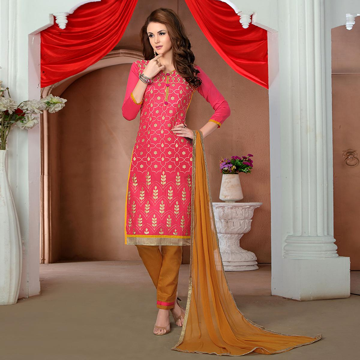 Amazing Red Colored Party Wear Embroidered Cotton Dress Material