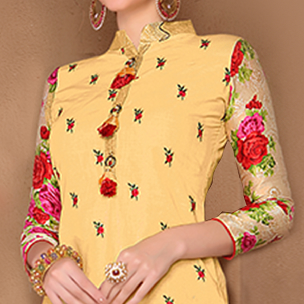 Exotic Yellow Colored Party Wear Embroidered Cotton Dress Material