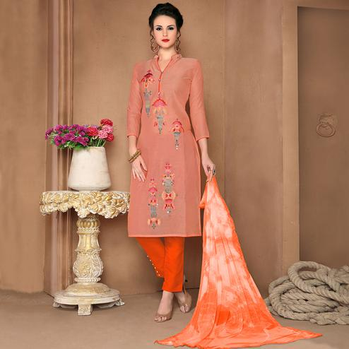 Majesty Peach Colored Party Wear Embroidered Cotton Dress Material
