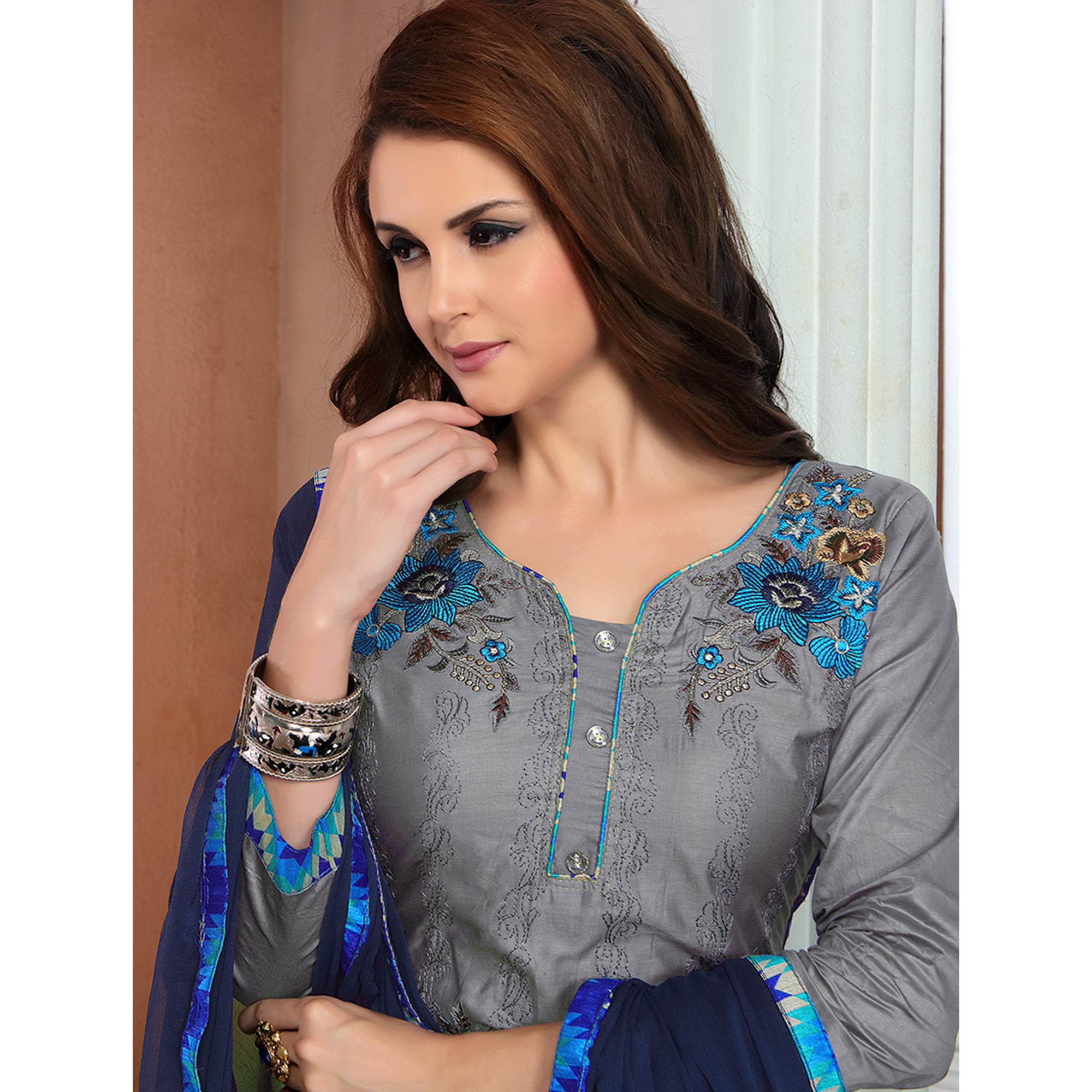 Preferable Grey Colored Party Wear Embroidered Cotton Dress Material