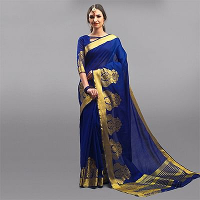 Royal Blue Festive Wear Woven Silk Saree