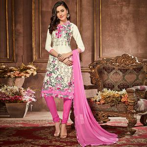 Desirable White Colored Party Wear Embroidered Cotton Suit