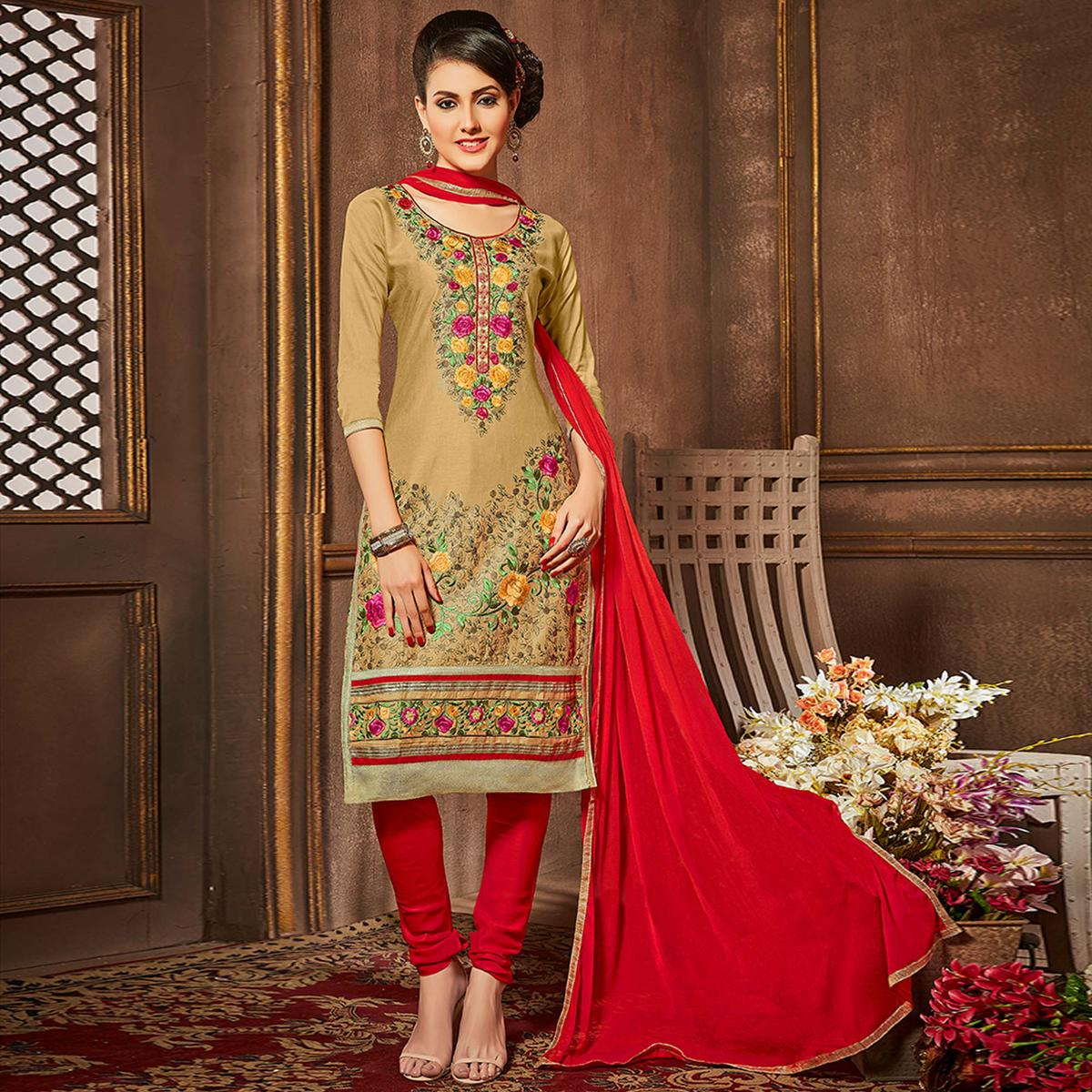 Demanding Chiku Colored Party Wear Embroidered Cotton Suit