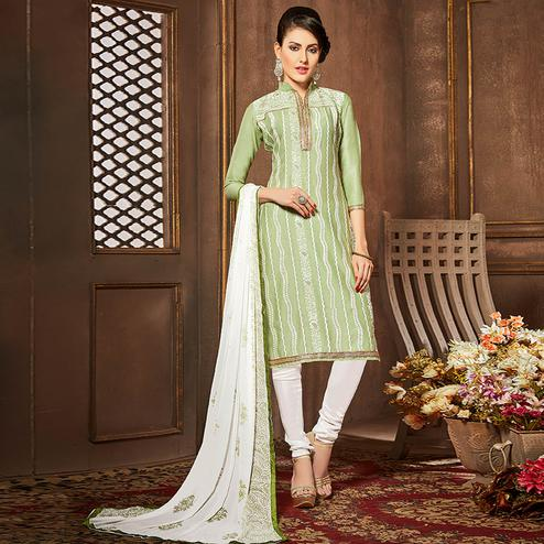 Pleasant Pista Green Colored Party Wear Embroidered Cotton Suit