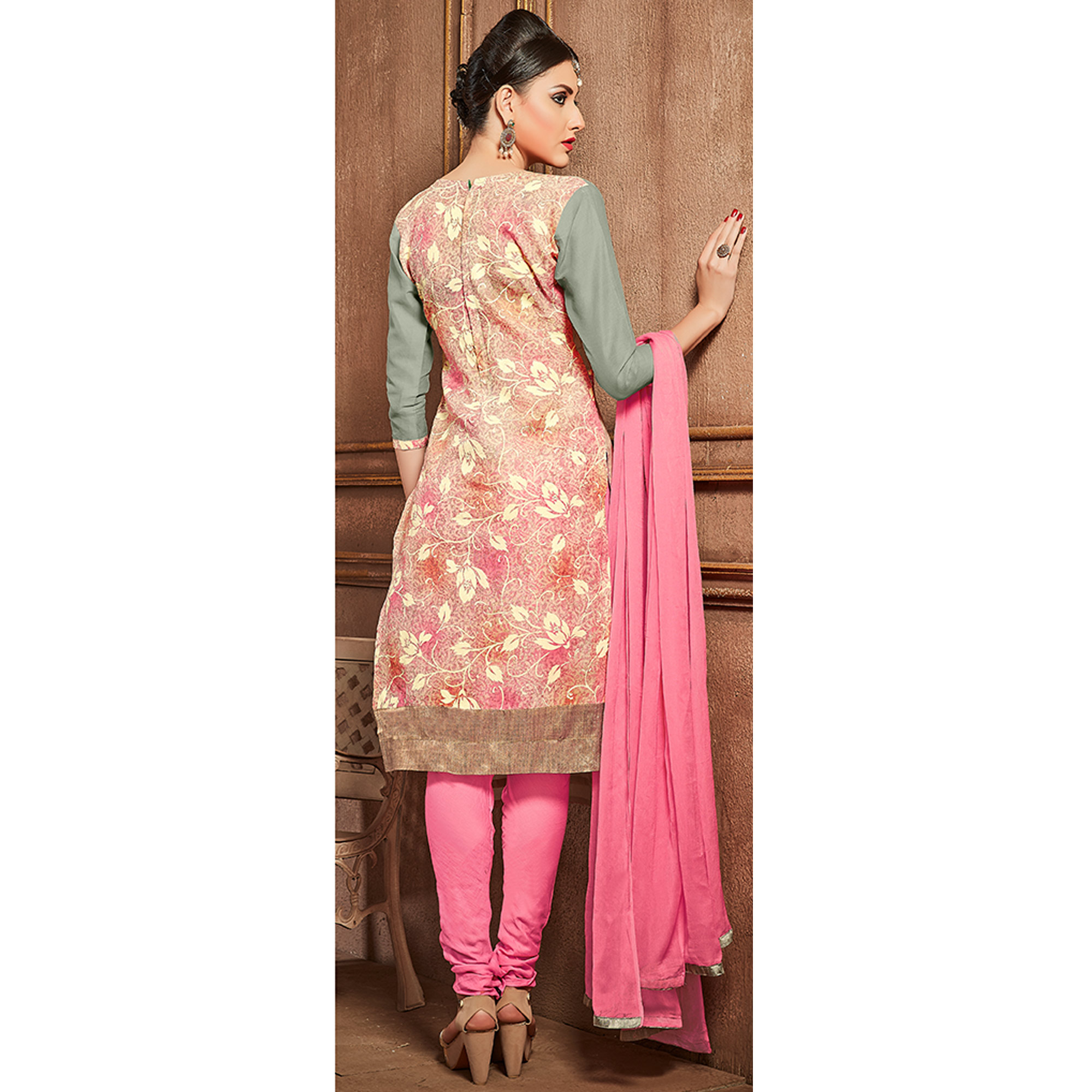 Unique Grey Colored Party Wear Embroidered Cotton Suit