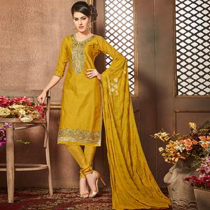Refreshing Mustard Yellow Colored Party Wear Embroidered Cotton Suit