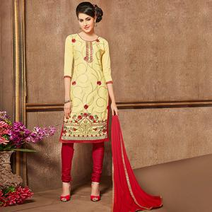 Elegant Light Yellow Colored Party Wear Embroidered Cotton Suit