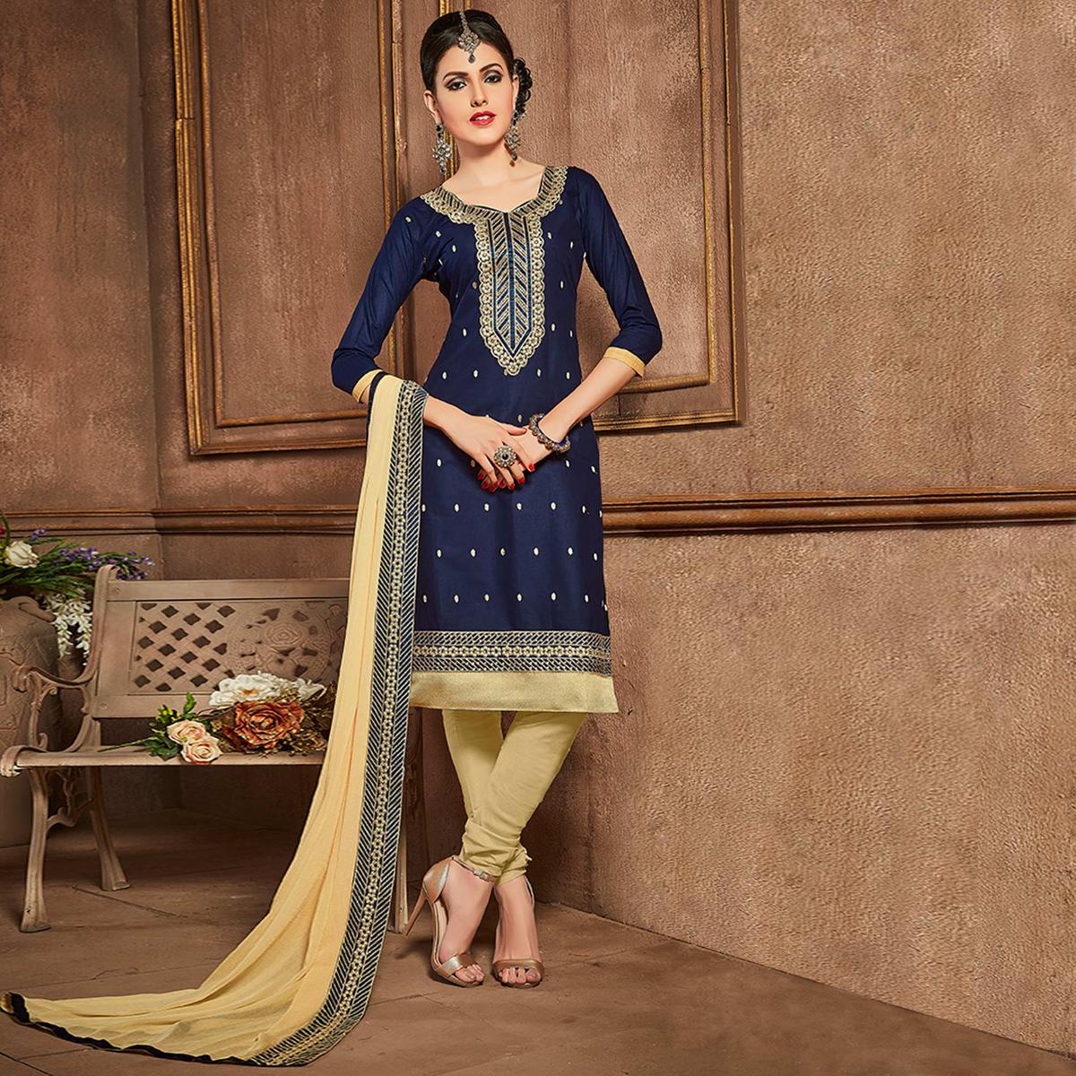 Sensational Navy Blue Colored Party Wear Embroidered Cotton Suit