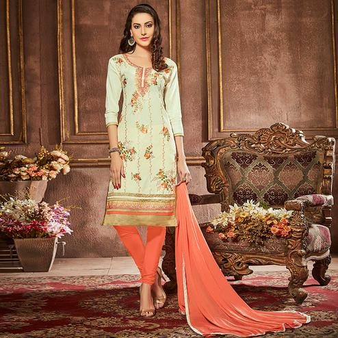 Opulent Off White Colored Party Wear Embroidered Cotton Suit