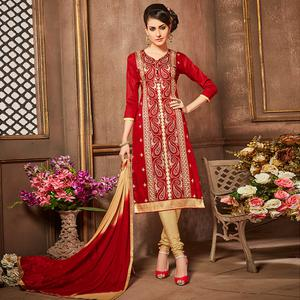 Dazzling Red Colored Party Wear Embroidered Cotton Suit