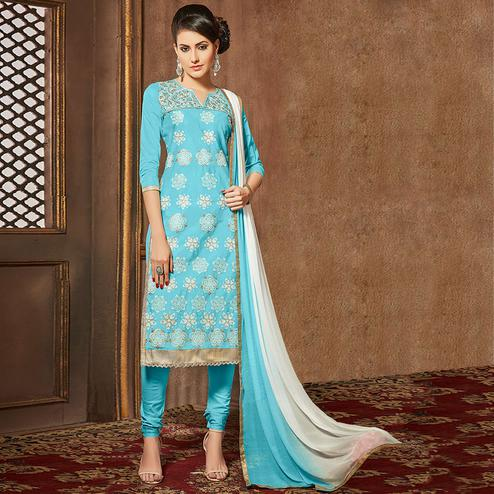 Flattering Sky Blue Colored Party Wear Embroidered Cotton Suit