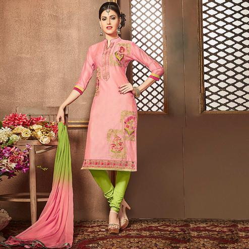 Innovative Light Pink Colored Party Wear Embroidered Cotton Suit
