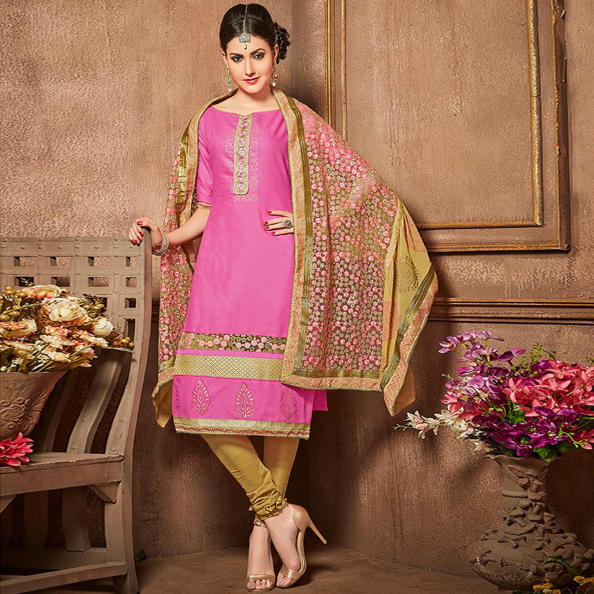 Gleaming Pink Colored Party Wear Embroidered Cotton Suit
